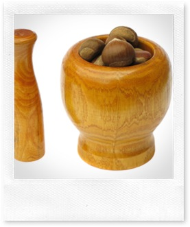 Wooden Mortar and Pestle with Chestnuts