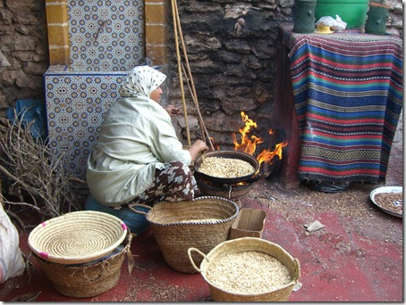 Berber women extracting argan oil